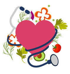 Healthy stethoscope icon with heart image vector