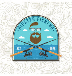 hipster fishing club patch concept vector image