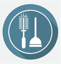 icon plunger on white circle with a long shadow vector image