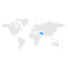 Iran marked blue in grey world political map vector