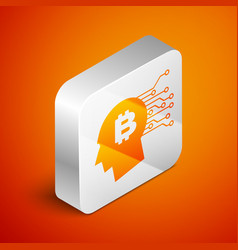 isometric bitcoin think icon isolated on orange vector image