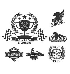 Kart race extreme driving sport isolated vector