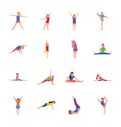 kids gymnastic flat icons set vector image