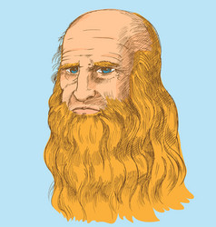 leonardo da vinci self-portrait pop art syle vector image