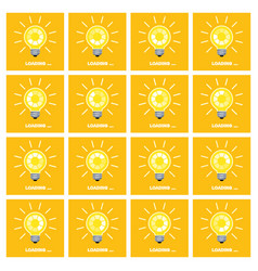 Light bulb with rotating preloader animation flat vector
