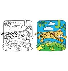 Little cheetah or jaguar coloring book Alphabet J vector image