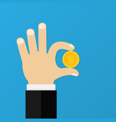male hand is holding golden coin business concept vector image