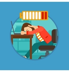 Man sleeping on workplace vector image