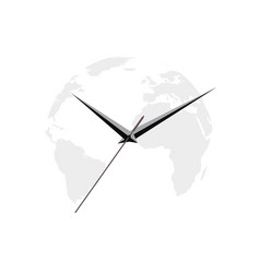 map of the earth clock arrows on white background vector image