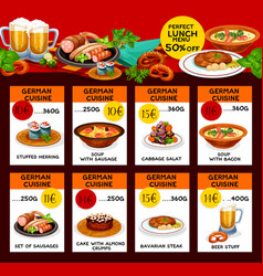 Menu price cards of german cuisine vector