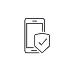 mobile phone security protection icon line vector image