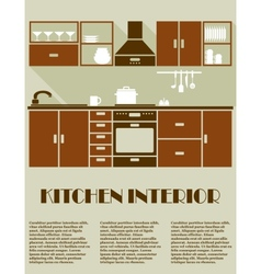 Modern brown kitchen interior design vector