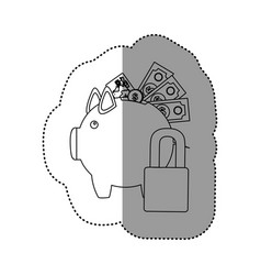 Monochrome contour sticker of piggy bank with vector
