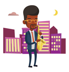 musician playing on saxophone vector image vector image