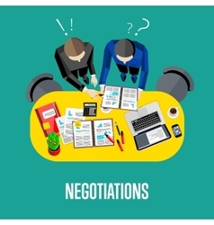 Negotiation banner Top view business workspace vector