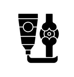 Ointment for arthritis black glyph icon vector