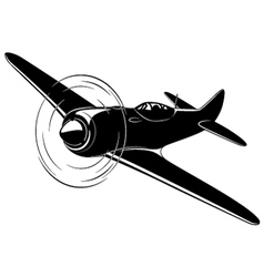 Old fighter airplane vector image
