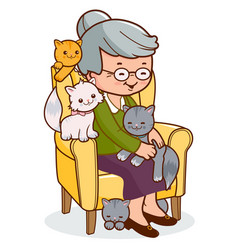 Old woman sitting in her armchair with her cats vector