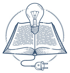 Open book with idea light bulb and cable plug vector