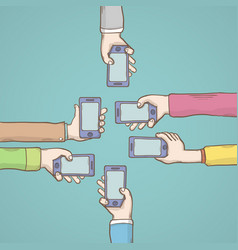 people hands with smarphones vector image