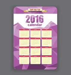Polygonal purple geometrical Calendar 2016 year vector
