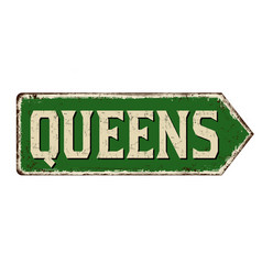 queens vintage rusty metal sign vector image