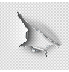 ragged hole torn in ripped steel metal on vector image