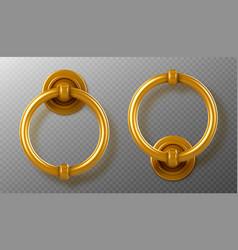 realistic gold door knocker handles ring knobs vector image