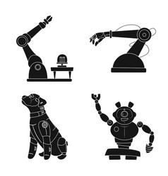 Robot and factory logo vector