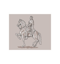 Roman emperor soldier riding horse vector image