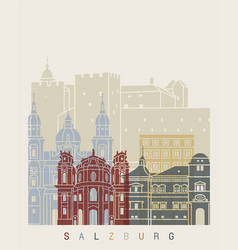 salzburg skyline poster vector image vector image