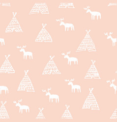 Seamless pattern with deers hand drawing vector