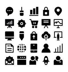 Seo and marketing solid icons 4 vector