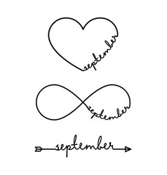 September - word with infinity symbol hand drawn vector