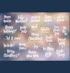 set holiday greeting quotes and wishes hand vector image