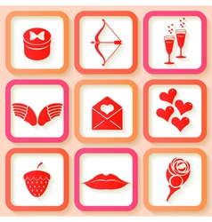 Set of 9 retro pink icons of valentines day vector