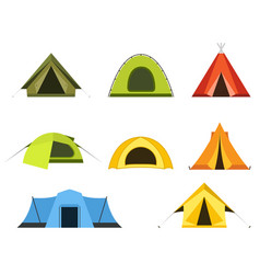 set of camping tents icon - campsite and tourism vector image