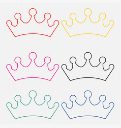 set of princess crowns isolated on white vector image