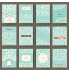 set perfect holiday templates with doodles vector image