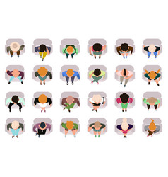 Sitting people top view male and female sitting vector