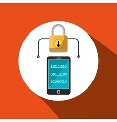 Smartphone padlock secure data vector