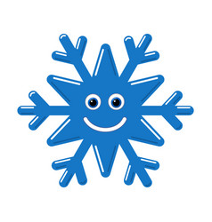 Snowflake smiley baby face cute winter blue snow vector