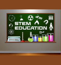 stem education on blackboard vector image