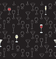 Stemware seamless pattern vector