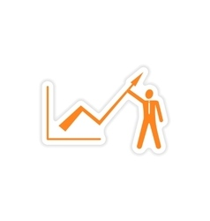 stylish sticker on paper Economic graph and people vector image