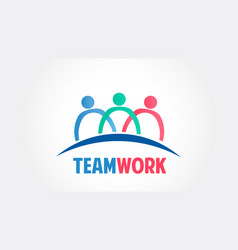 teamwork group people community logo vector image