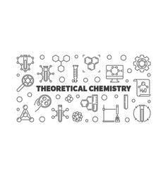 theoretical chemistry outline horizontal vector image
