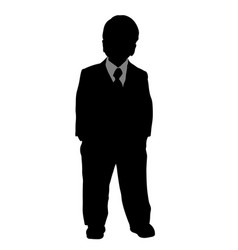 toddler in formal suit posing silhouette vector image