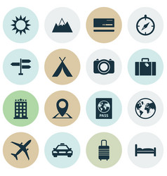 Traveling icons set collection of mastercard car vector