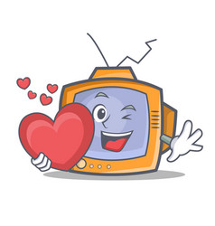 Tv character cartoon object with heart vector